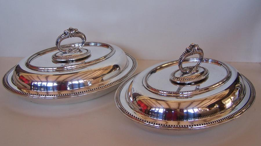 Pair of antique silver plated entree dishes