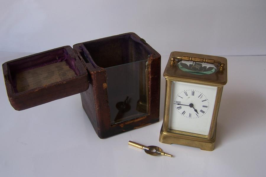BRASS CARRIAGE CLOCK WITH CASE
