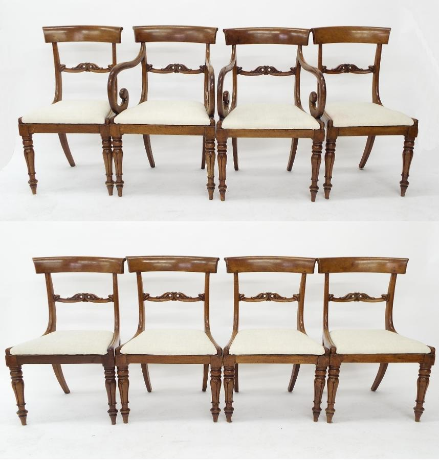 Set of eight mahogany English dining chairs