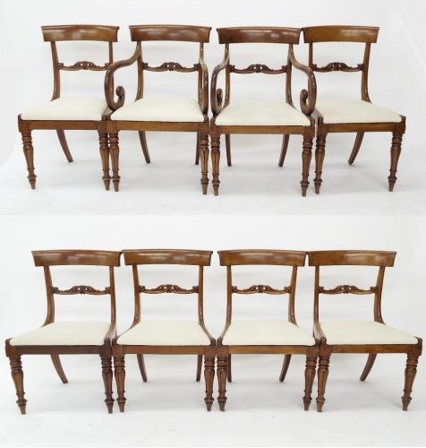Juego de ocho sillas inglés antigua de caoba