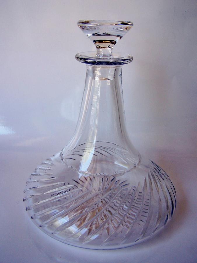Vintage crystal cut glass ships decanter