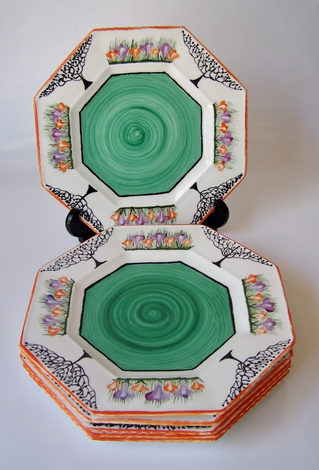 Set of six Art Deco plates