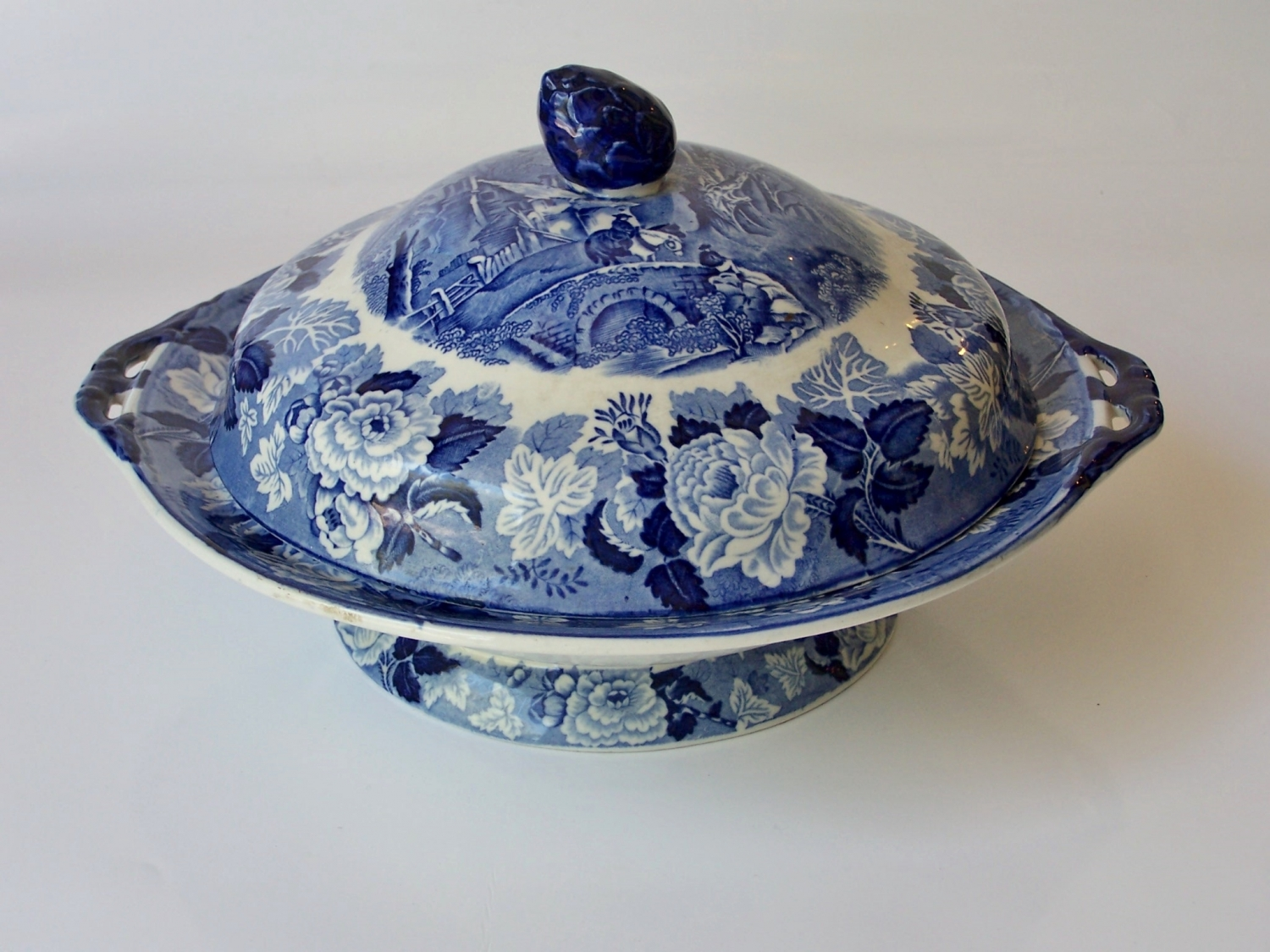 Blue and white antique serving dish