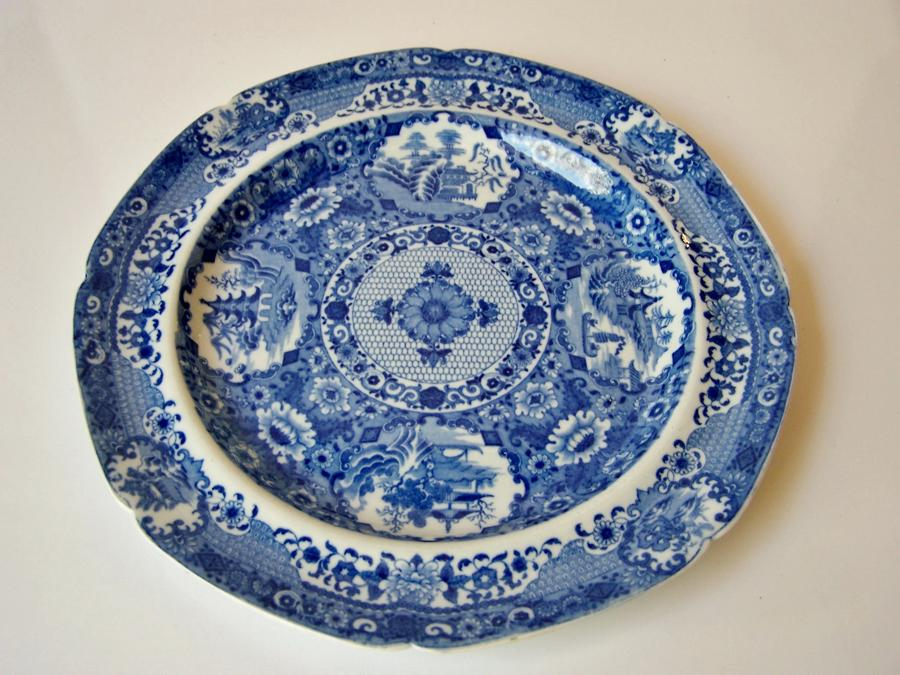 Antique blue and white Spode plate