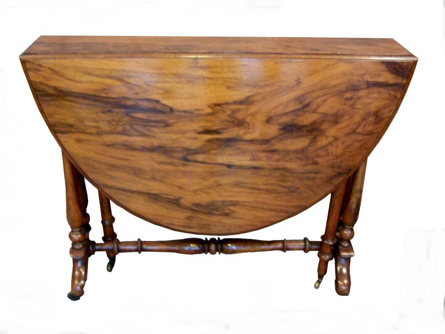 Edwardian burr walnut sutherland table