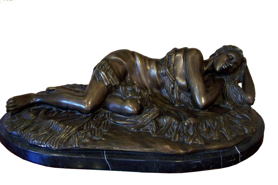 Bronze sculpture on marble base