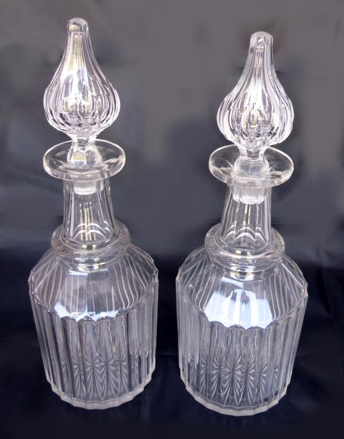 A pair of 19C decanters