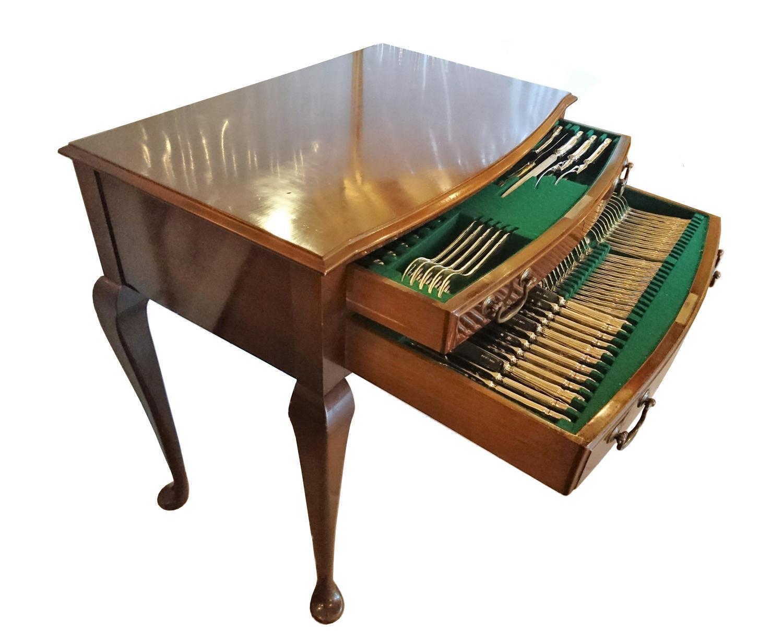A silver canteen of cutlery