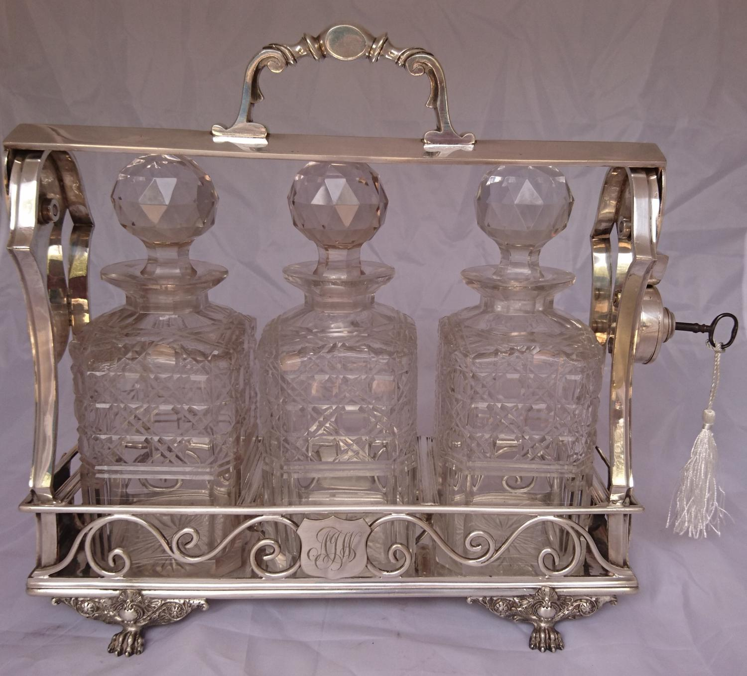 Antique Victorian silver plated tantalus