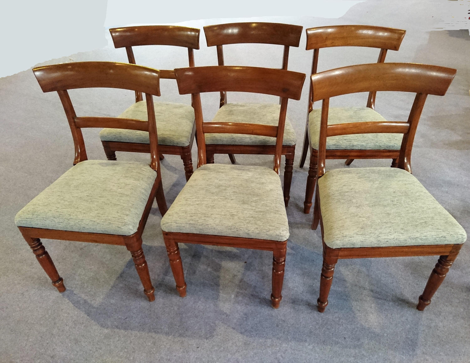 Six Victorian mahogany dining chairs