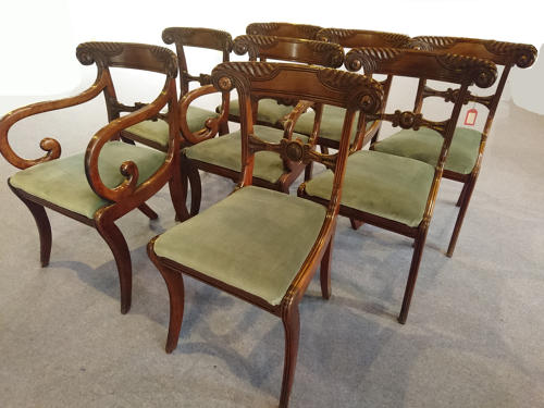 Eight 19th century mahogany dining chairs