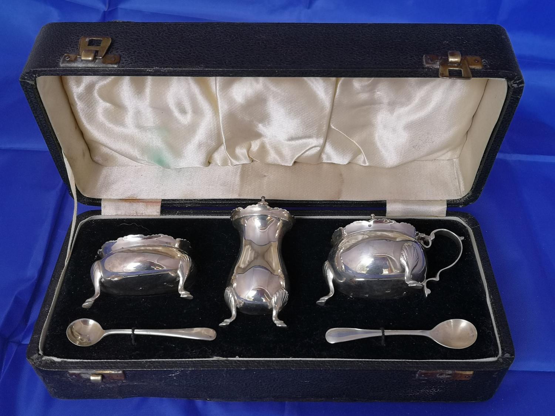 Antique silver cruet set