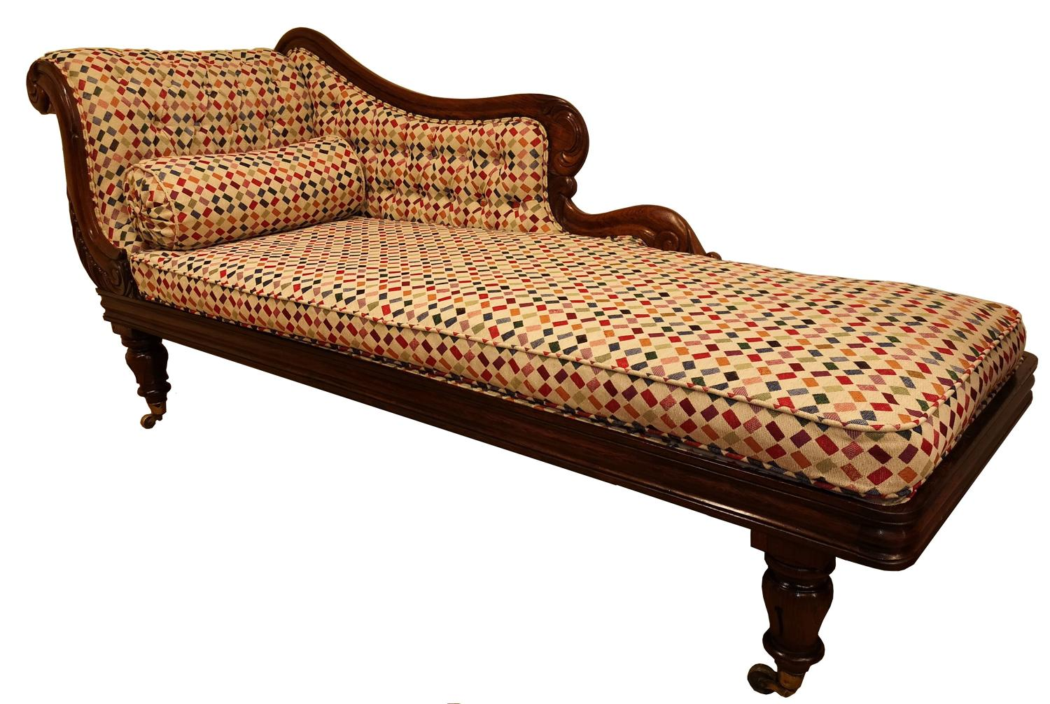 !9th century rosewood chaise longue
