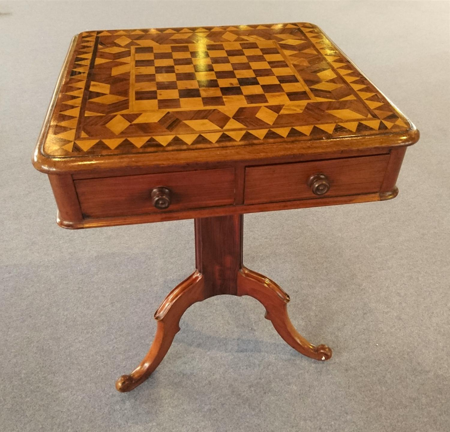 Victorian games chess table