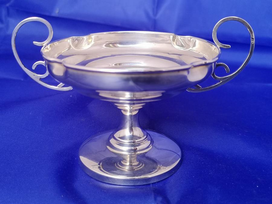 Solid silver antique pedestal dish