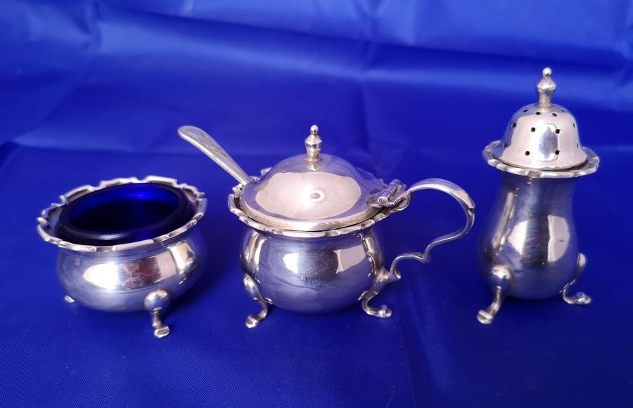 English solid silver antique cruet set
