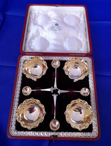 Set of Victorian antique solid silver salts