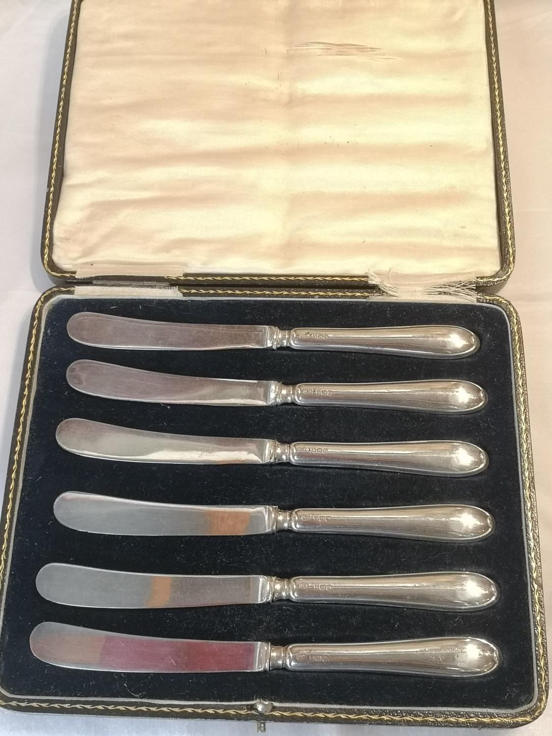 Antique silver knives with case
