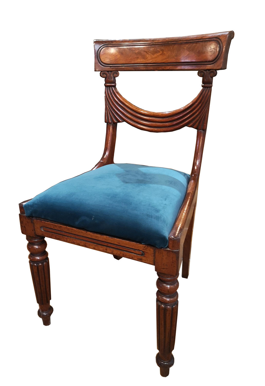 Set of six 19C mahogany dining chairs