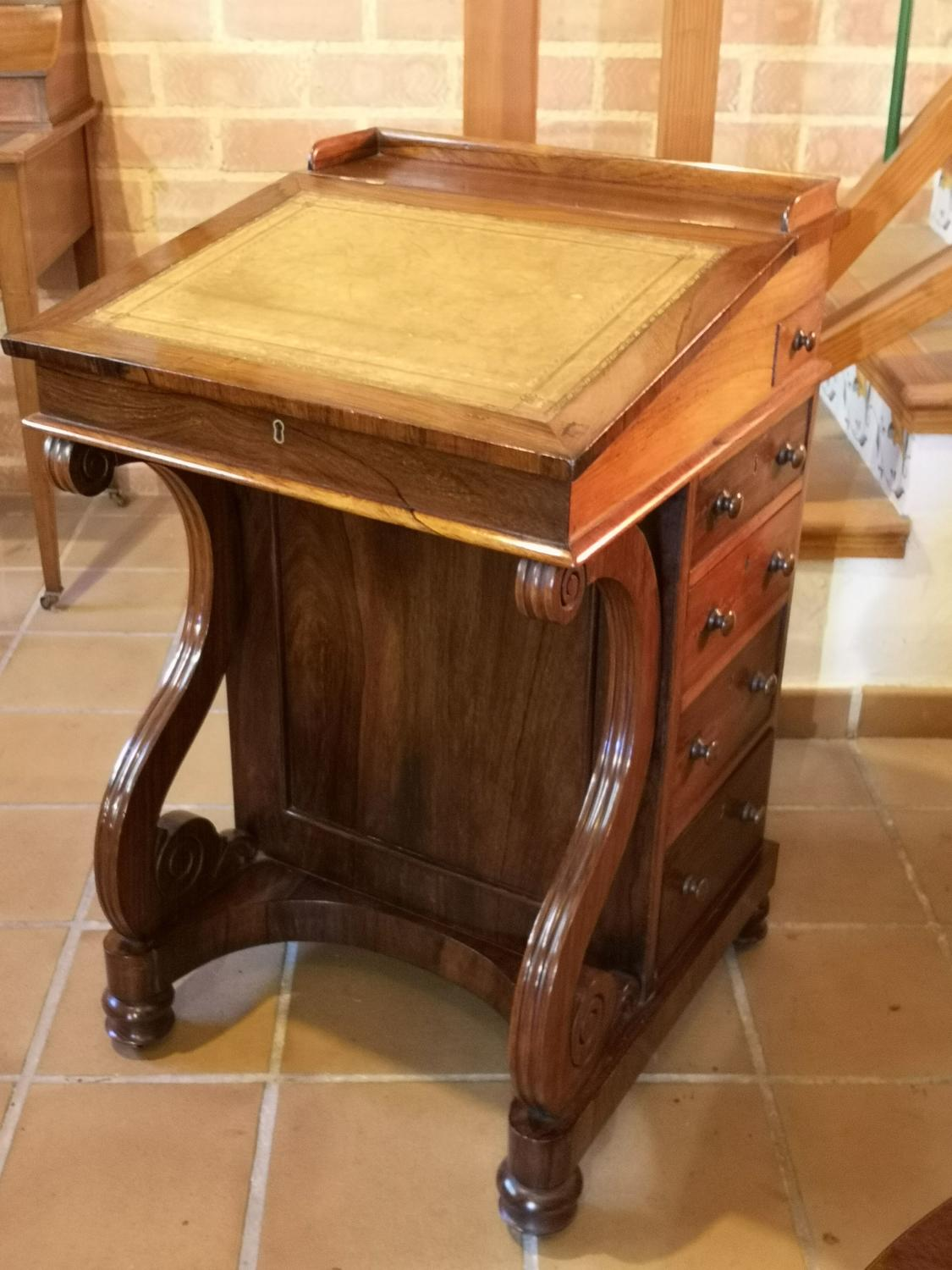 19th century Rosewood Davenport writing desk