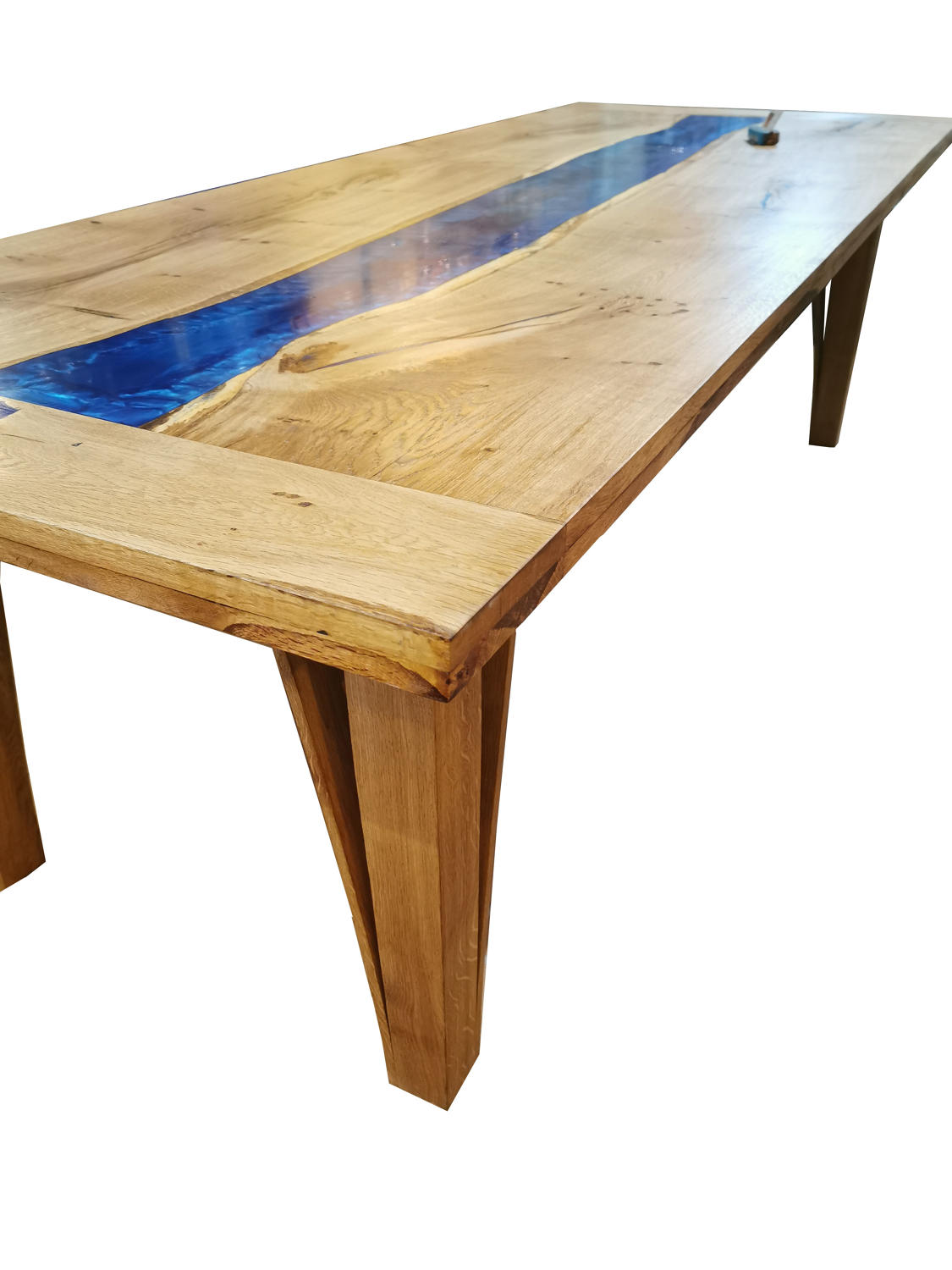 Contemporary river dining table oak and resin