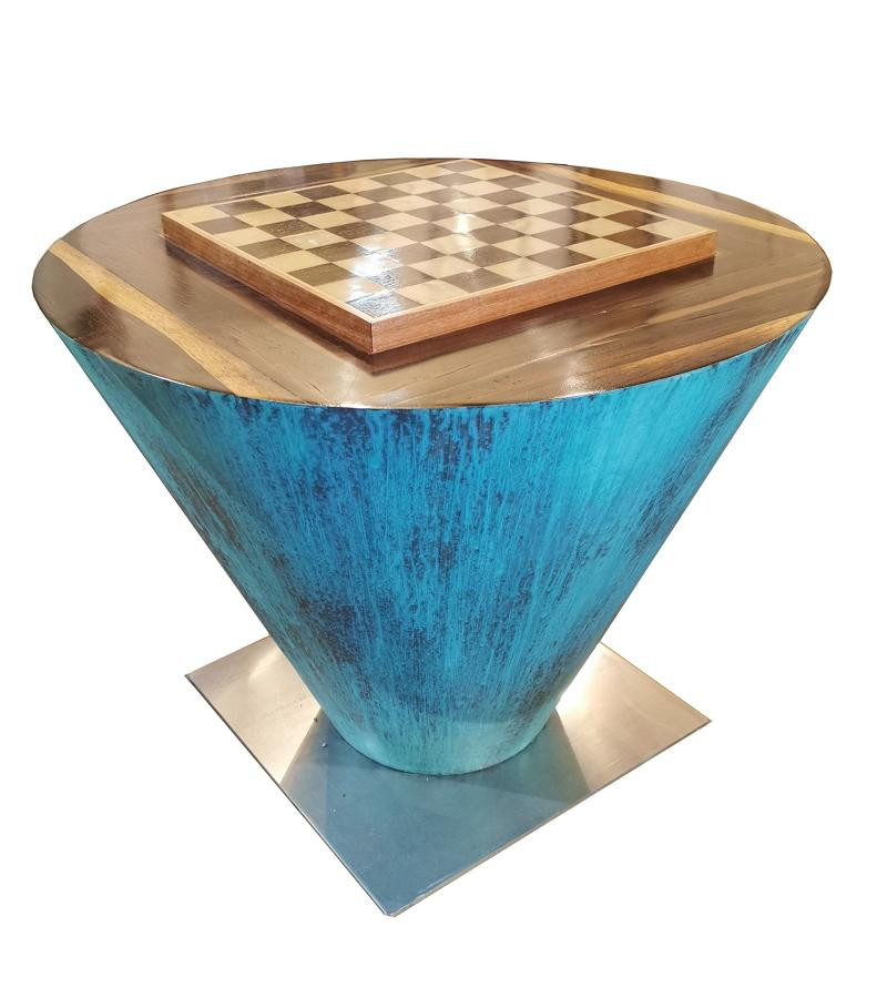 Contemporary rosewood chess table and ludo