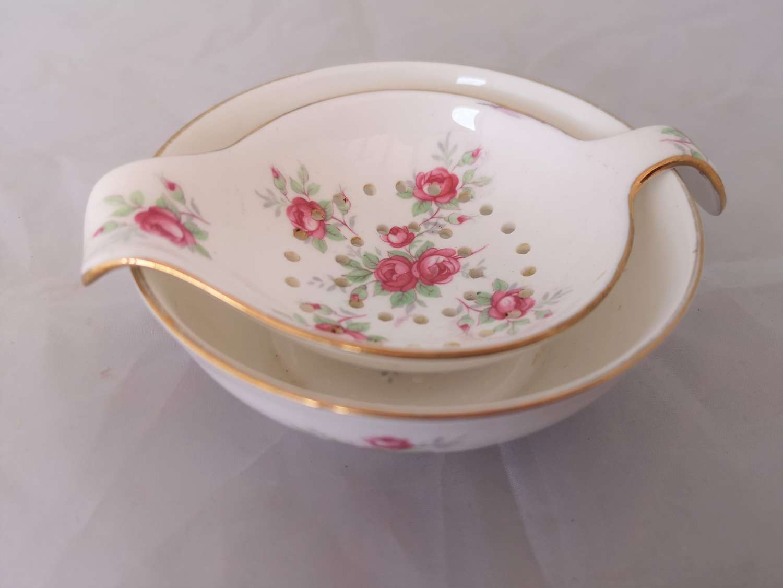 Crown Staffordshire bone china tea strainer