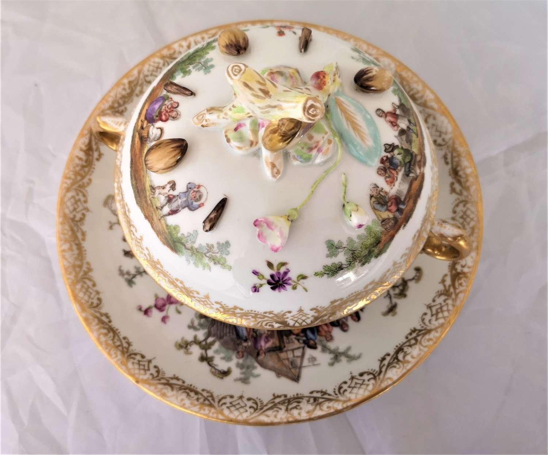 Antigua taza para chocolate de Dresdon epoca 1850