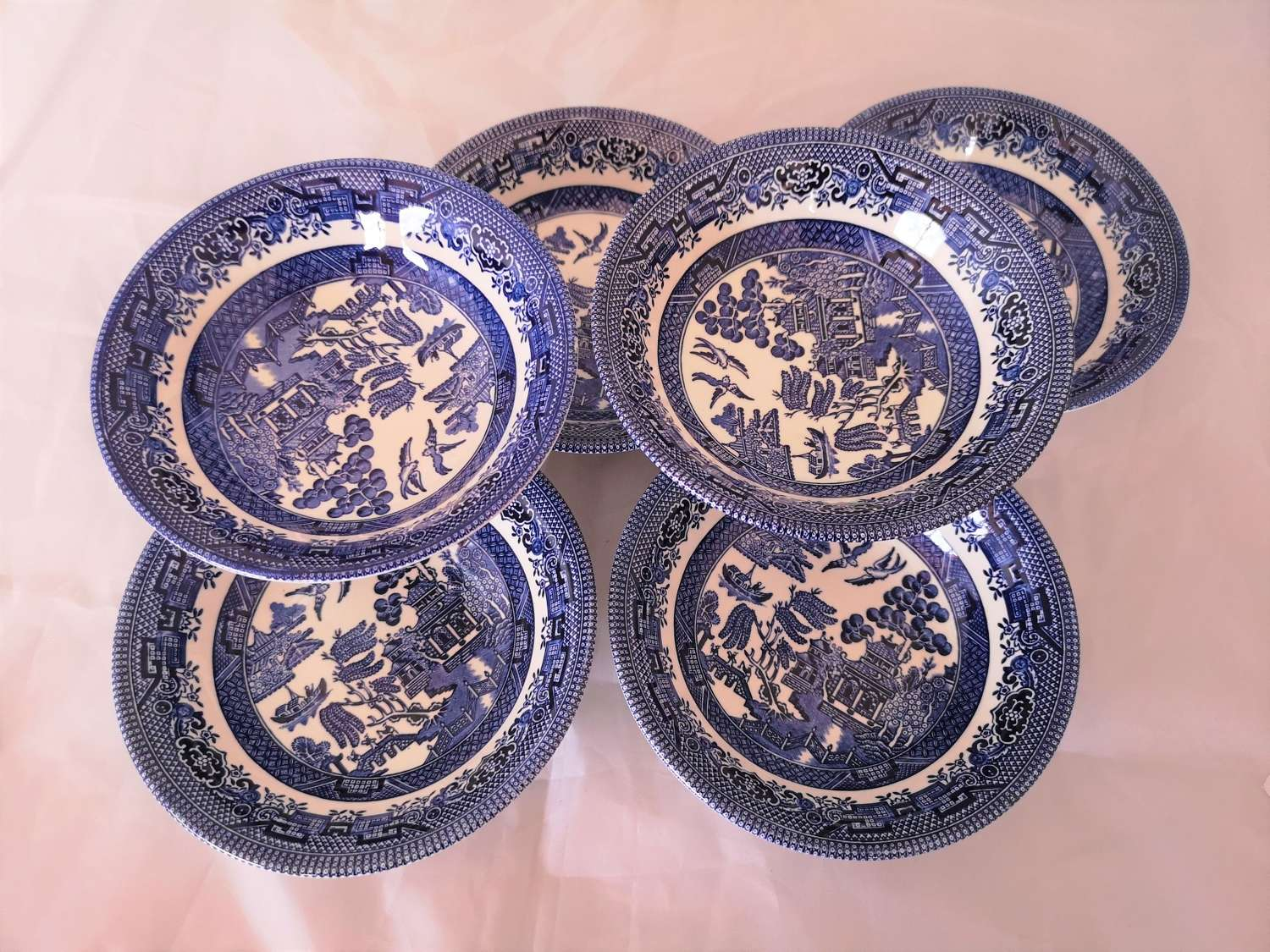 Six Churchill willow pattern cereal bowls