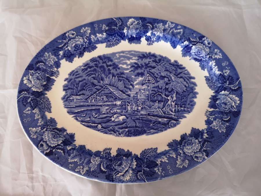 Enoch Woods blue and white platter