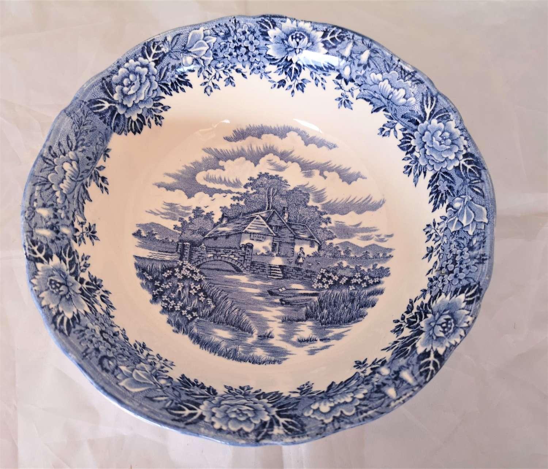 English Village blue and white fruit bowl