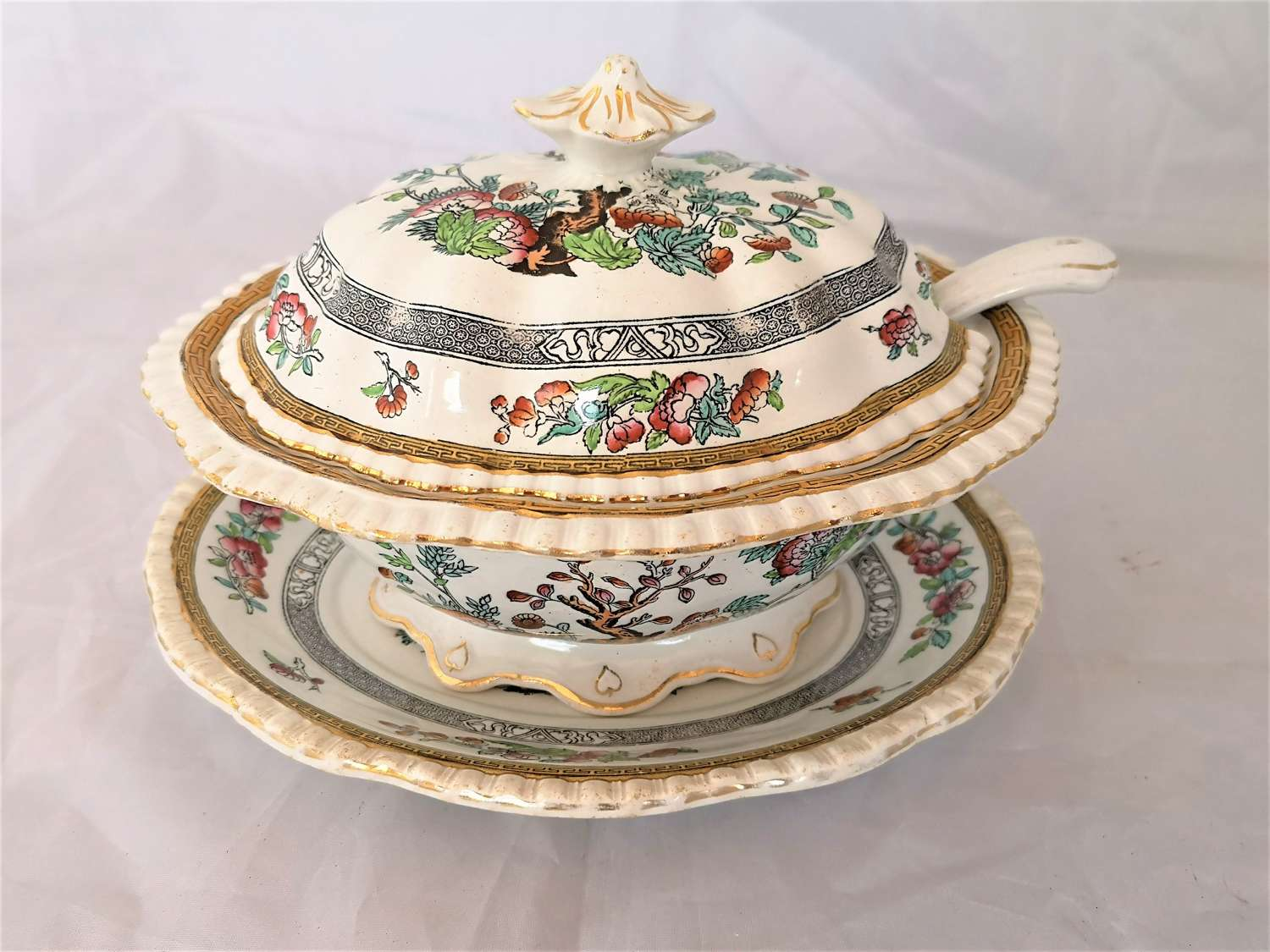 19th century Adams tureen with ladle