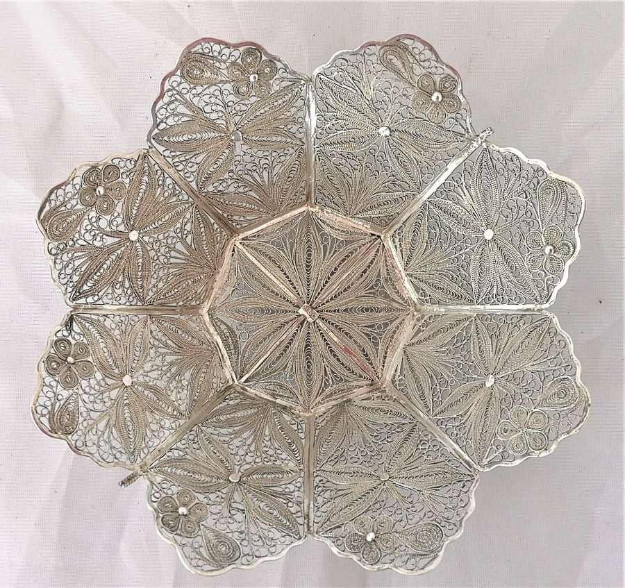 Silver white metal filigree bowl
