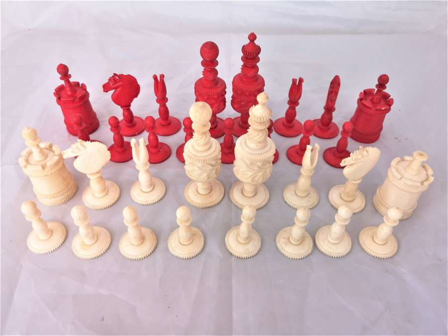 Antique early 20th century bone chess set