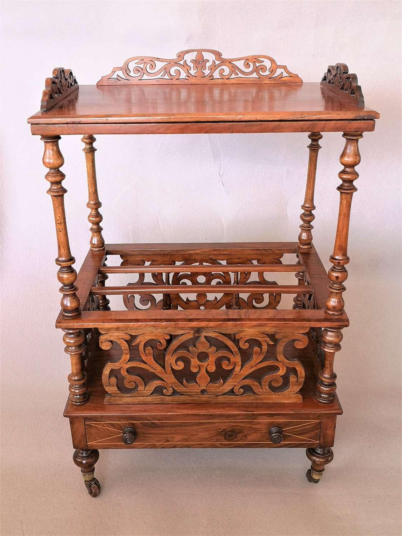 Walnut 19th century Canterbury whatnot table