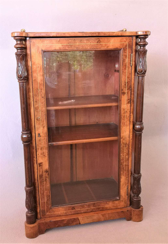 Antique 19th century walnut display case with glass door