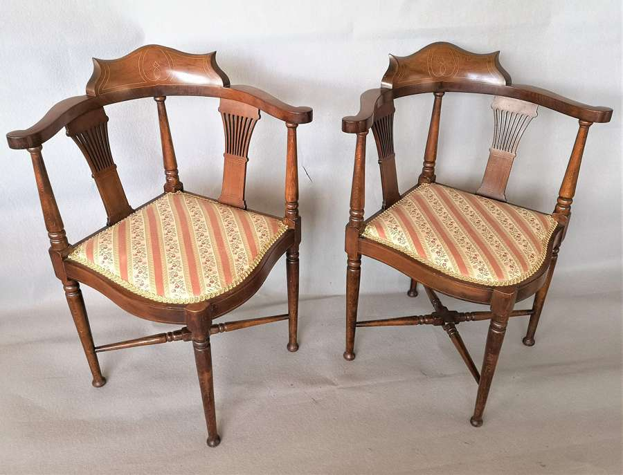 Pair of Edwardian mahogany corner chairs