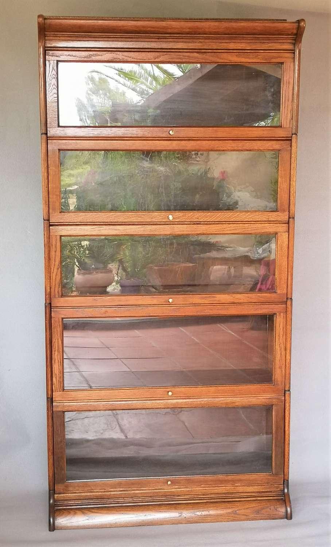 Globe Wernicke style five stack oak bookcase