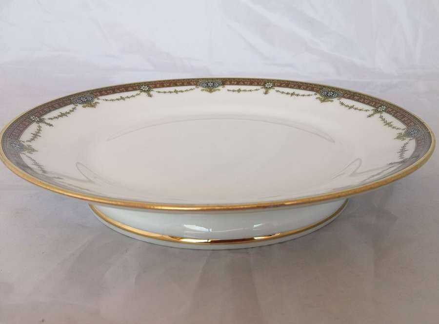 Large Limoges porcelain pedestal dish