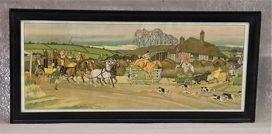 Set of four hunting prints by Harry Elliot