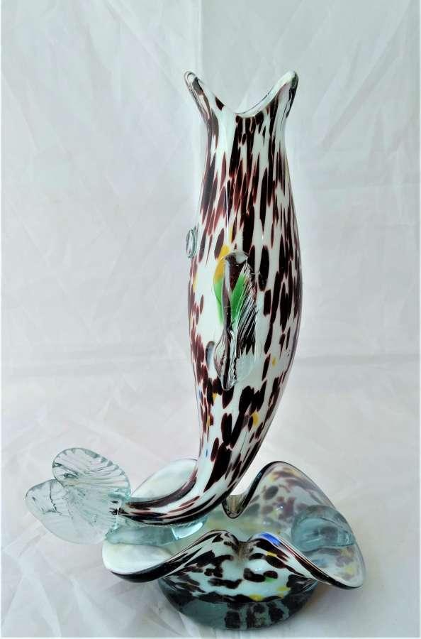 Vintage figura de cristal de Morano en forma de pez