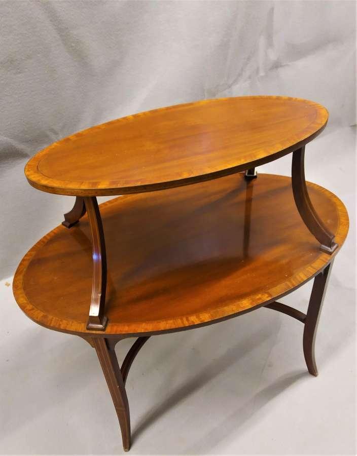 Edwardian oval mahogany two tier etagere