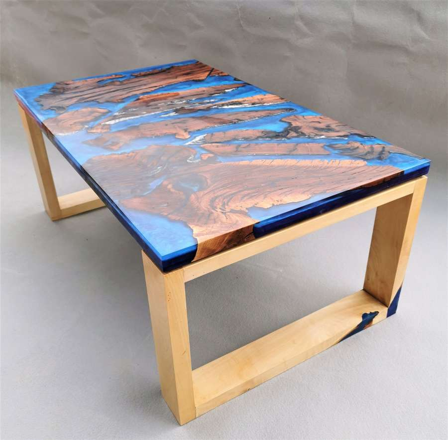 Hand made resin coffee table, almond wood