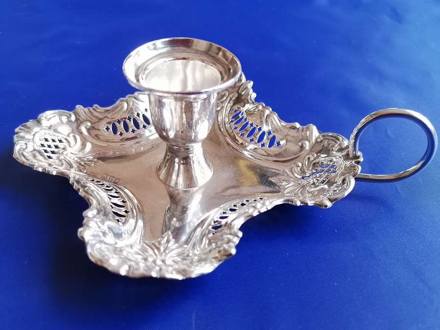 Antique silver candle holder, Chester 1919