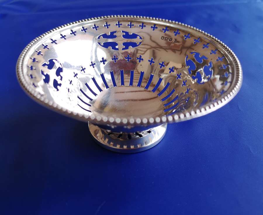 English silver bon bon dish antique c.1913