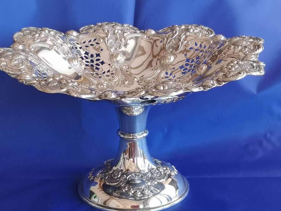 19th century silver plated pedestal dish