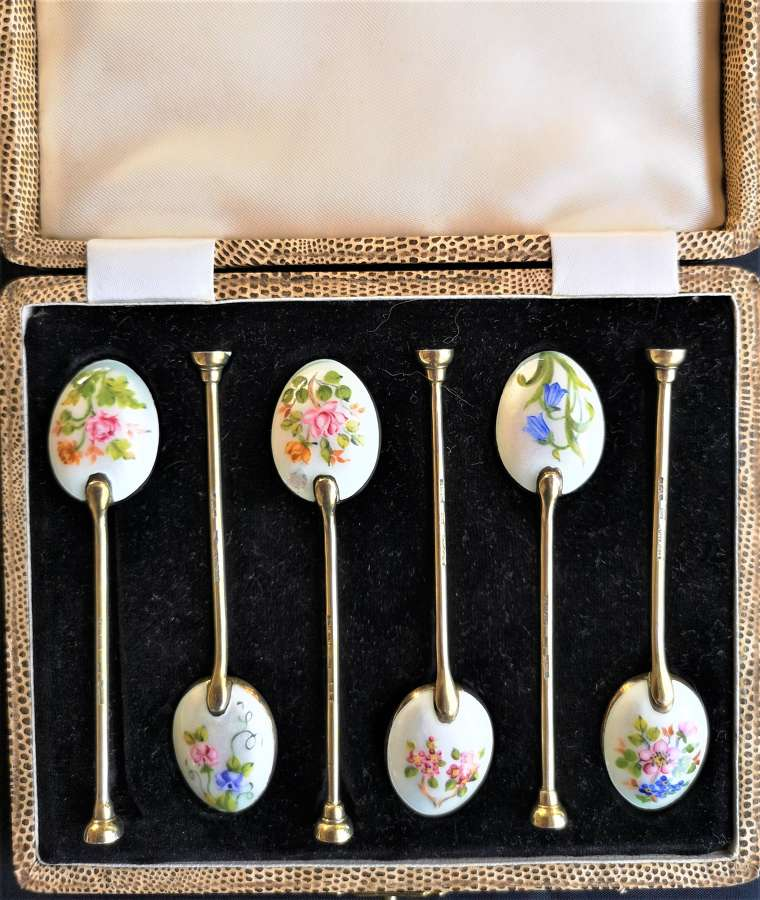 Set of six enamelled silver teaspoons