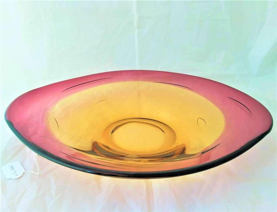 Bandeja grande de cristal de Murano epoca 1960