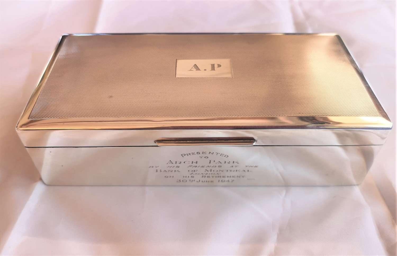 Antique silver cigarette Box, London 1946