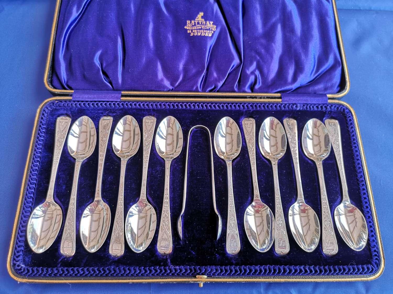 Conjunto de cucharillas y pinzas antigua de plata de ley
